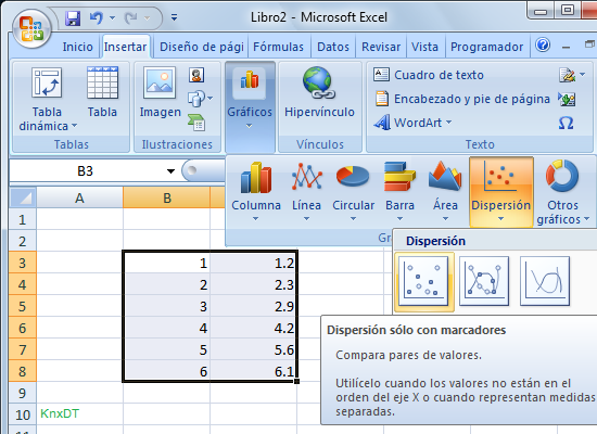 grafico dispersion Excel