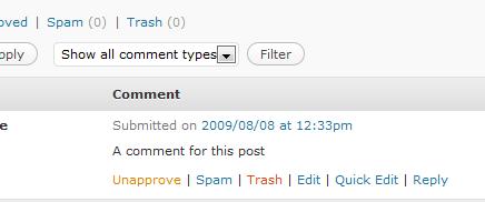 comentario papelera reciclaje WordPress