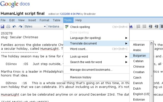 Traducir en google docs