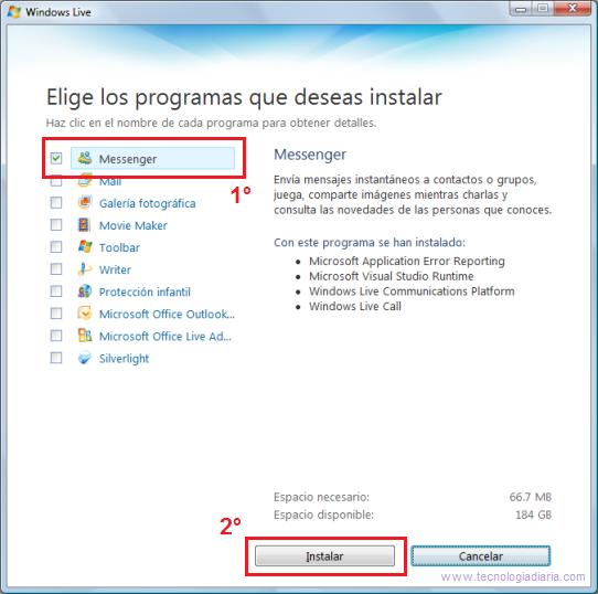 Seleccionar MSN Messenger en Live