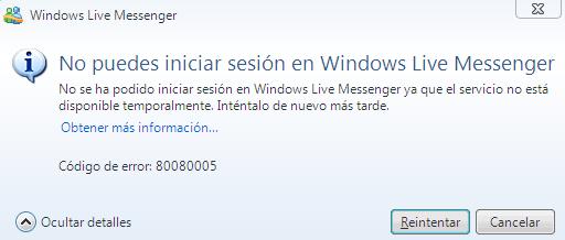 msn error 80080005